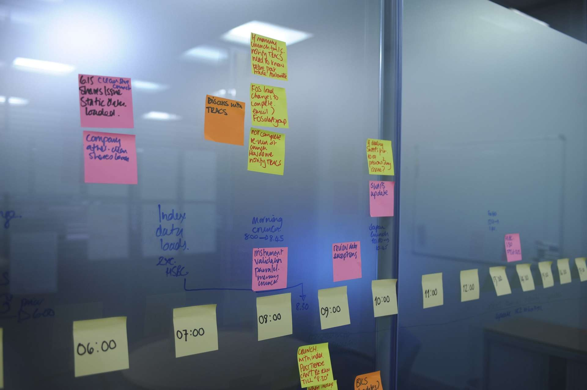 Post-it notes stuck on glass wall