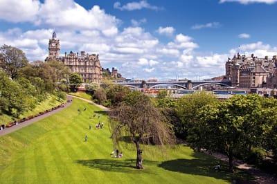view of the Balmoral Hotel from Princes Street Gardens, Edinburgh
