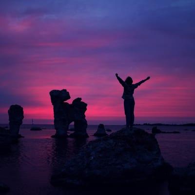 women on rocks